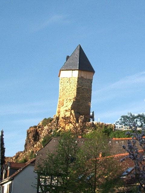 Die restaurierte Burg im Frühjahrsblütenschmuck